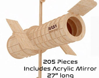 Hubble Space Telescope Laser Cut Wood Model, 205 pieces.