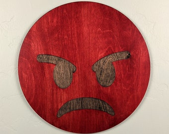 Emoji Angry Face Wood Sign Wall Art