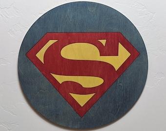 Superman Logo Wood Sign Wall Art