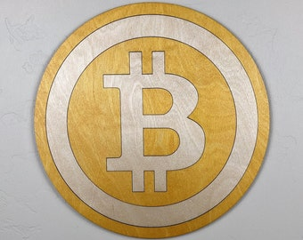 Bitcoin Wood Sign Wall Art