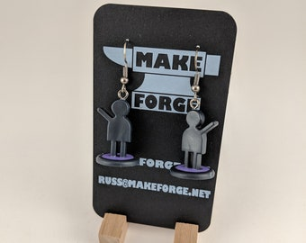 Portal Boardgame purple figurine earrings, gun metal dark grey fishhook earring