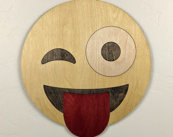 Emoji Smiley with Tounge Wood Sign Wall Art