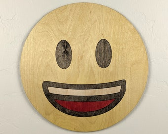 Emoji Smiley Wood Sign Wall Art