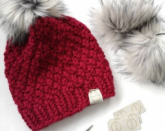 7ca45324617 Made to Order - Linden Hat   Chunky Hat  winter Beanie   Faux Fur Pom Hat   women s winter hat  toque   multiple colour choices   wool hat