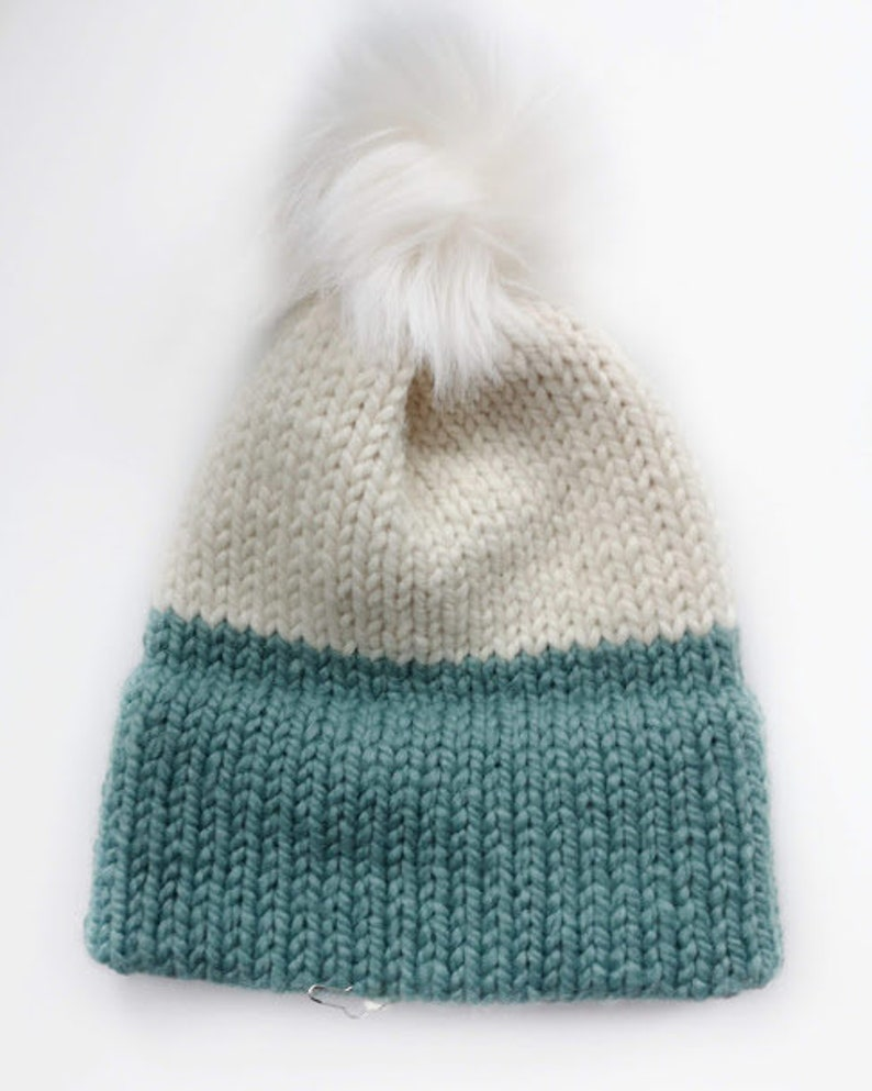 1418f96c4 Made to Order Double Brim Beanies, Chunky Knit Beanie, Multiple Sizes, Faux  Fur Pom Beanie, Winter Hat, Knit Hat, Tuques, Knit Hat, Knit Hat