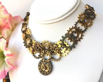 Big Steampunk Bib Necklace Brass Copper Gold Tone Steampunk Statement Necklace Vintage Inspired Jewelry for Women Unique Handmade Gift