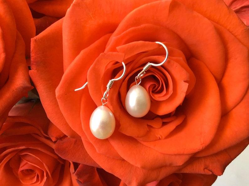 Cultured Pearl Earrings Dangle Silver Bridal Earrings Pearl Drop Bridal Earrings Drop White Pearl Earrings Freshwater Pearl Earrings