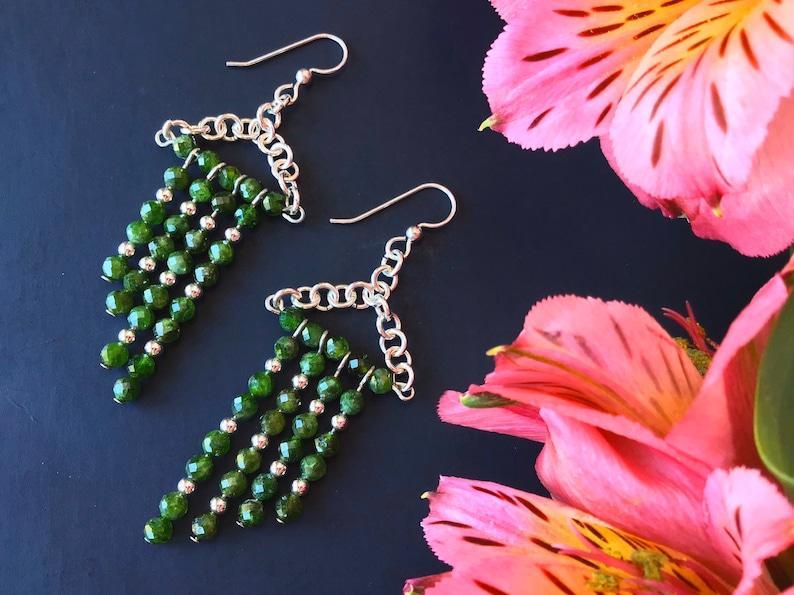Green Bold Statement Earrings for Women Beaded Earrings Handmade Extra Long Dangle Earrings Women Green Earrings Beaded Chrome Diopside