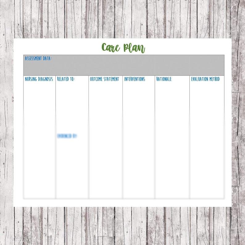 Care Plan Template Nursing // Care Plan Worksheet // Nursing School Notes