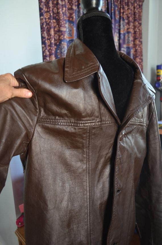Vintage 1970's 1970s Mens Genuine Dark Brown Leath