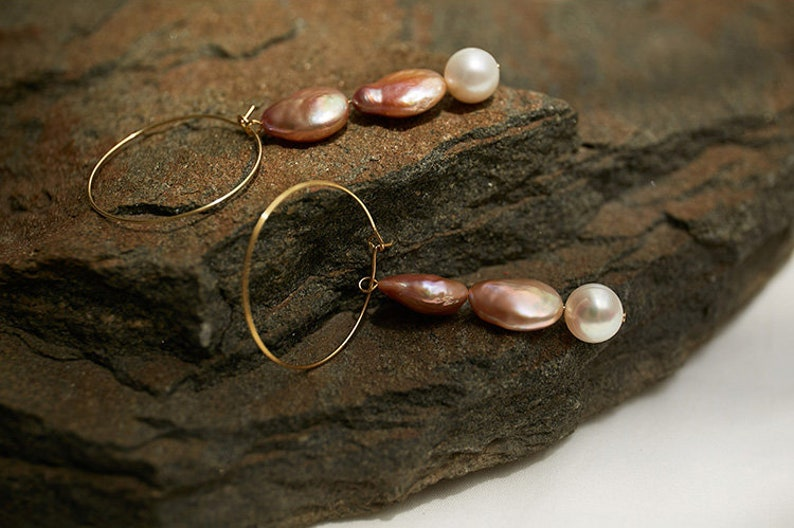 Flower Dangle Earrings \u2022 Made out of raw brass \u2022 Freshwater Pearl