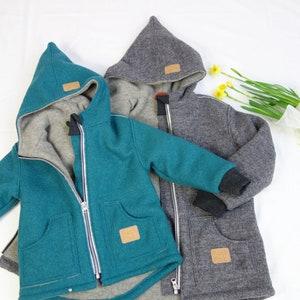 mulesing free pure new wool Flece jacket Heather from organic wool-fleece for children Merino girls boys GOTS