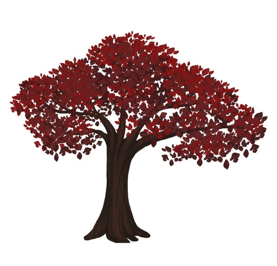Red Bonsai Tree Digital Clip Art Vector And Png Etsy
