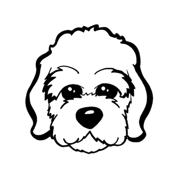 Puppy Dog Face Black And White Cartoon Contour Line Clipart Etsy