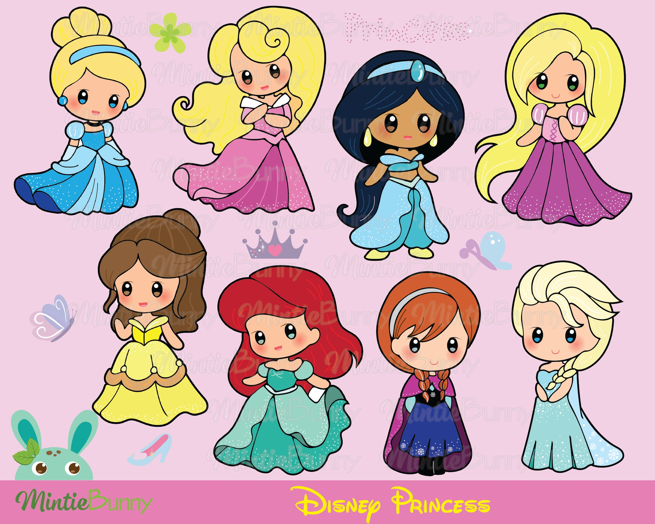 Disney Princess ClipArt Princess Clipart Princess Chibi   Etsy