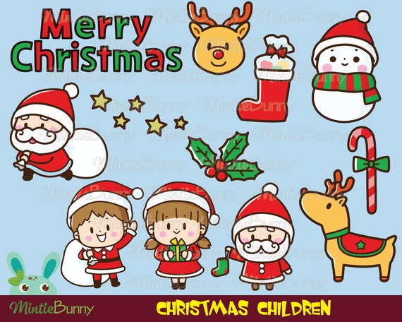Merry Christmas Clipart Winter Clipart Noel Santa Claus Etsy