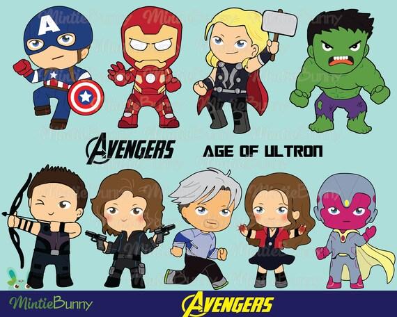 Avengers Clipart Superhero Clipart Avenger Clipart Chibi Etsy
