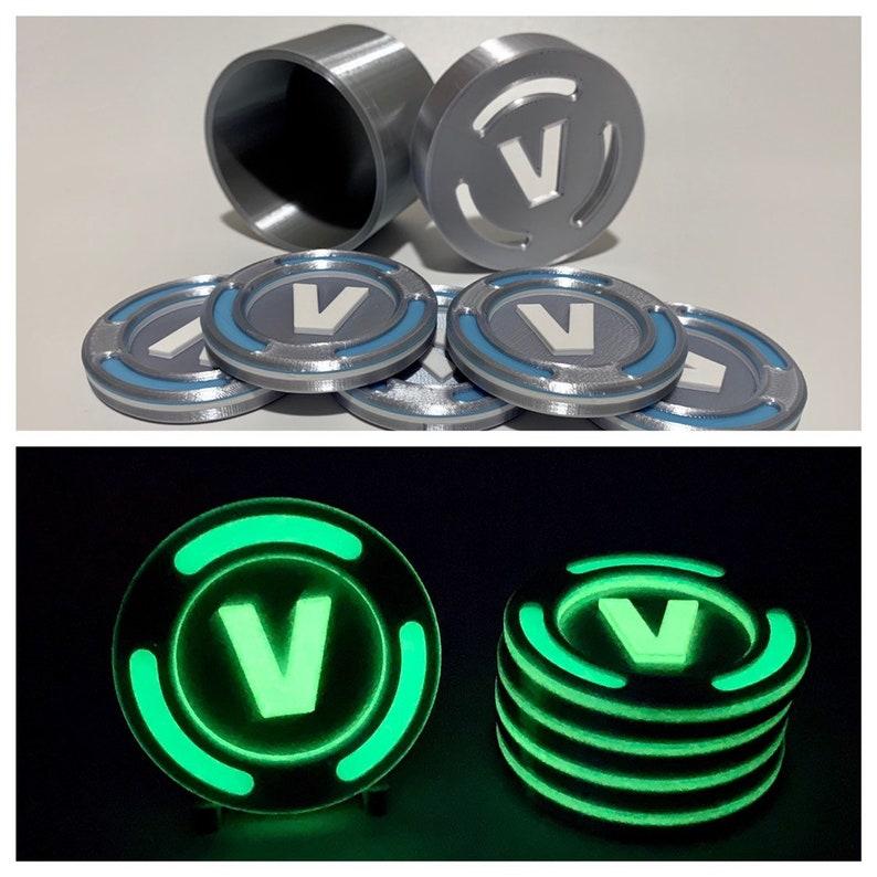 Glow In The Dark 3d Printed Vbucks With Container V Bucks V Etsy