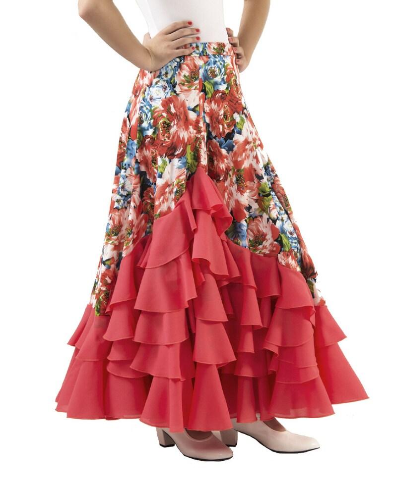 8309966b6 Falda infantil de baile flamenco con mucho vuelo, 5 volantes en cascada