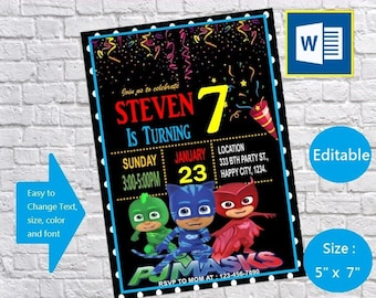 PJ Masks Birthday Invitation Card Party Template Instant Download 5x 7 Editable Text Ms Word Files Printable Docx