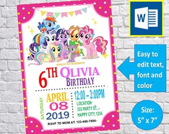 Editable My Little Pony Birthday Invitation Card Party Template Instant Download Ms Word Printable Docx Files