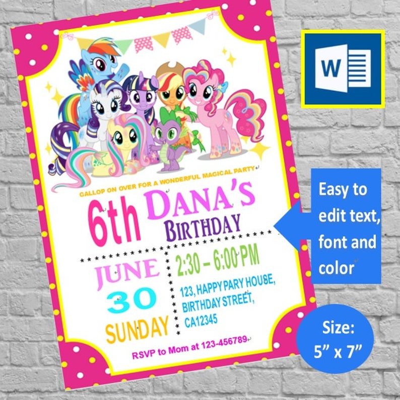 DIY Editable My Little Pony Birthday Invitation Card Party Template Instant Download Ms Word Printable Docx Files