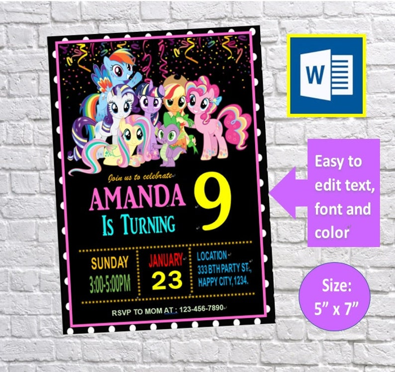 Diy Editable My Little Pony Birthday Invitation Card Party Invitation Card Instant Download Ms Word Template Printable Docx Files