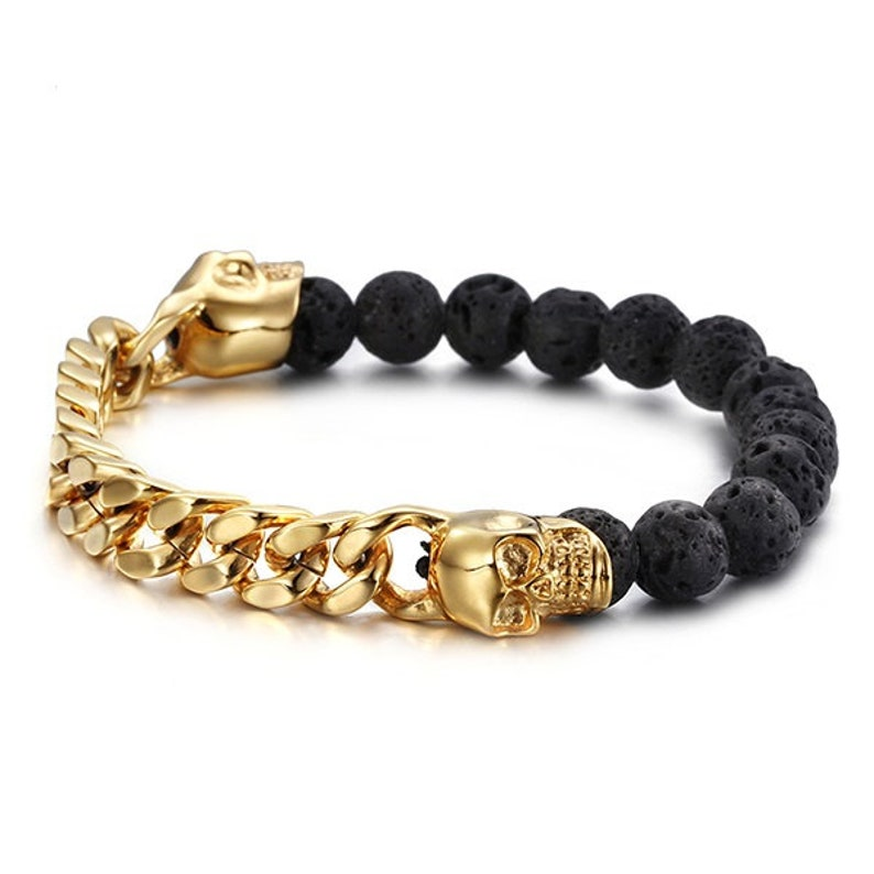 VESUVIO Beaded Bracelet  Lava Stone  Skull Charm  18K Gold image 0