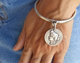 Silver coin bangle, Coin bracelet, Antique coin bracelet, french coin, gift for her