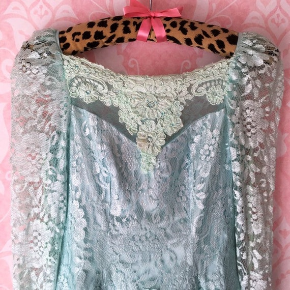 Boho ice blue ombré flower girl dress