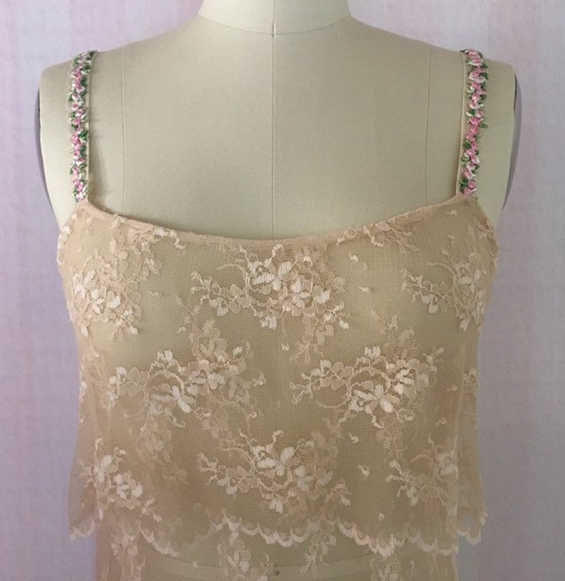 nude lace blouson camisole