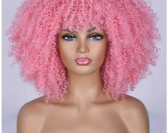 Pink curly Afro synthetic wig