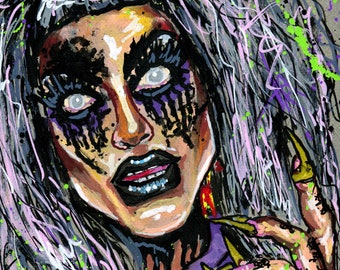NEW*** Evah Destruction from Boulet Brothers Dragula - A4 or A3 print of my original acrylic portrait painting