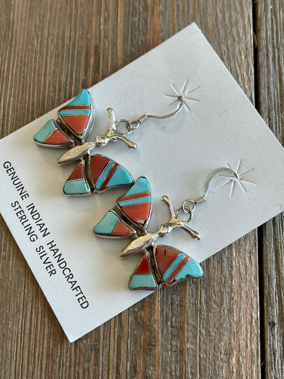 Vintage Sterling Silver Native American Indian Signed Bea L Inlay Gemstone Butterfly Dangle Earrings Item w# 1616