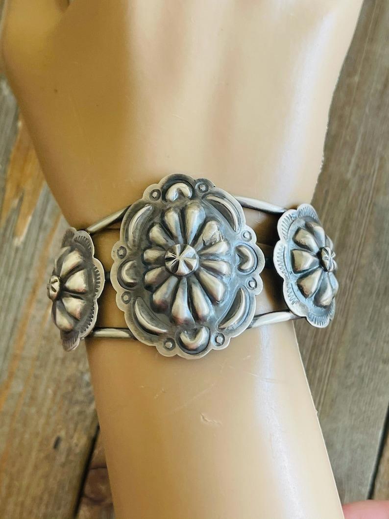 Navajo Sterling Silver Concho Cuff Bracelet