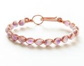 Copper Wire Wrapped Beaded Bracelet - Amethyst Bracelet - Crystal Bracelet -Copper Bracelet -Bracelet for Women -Gemstone Bracelet -Aquarius