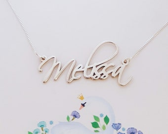 ab3b3983db888 Melissa Name Necklace Order Any Name Melissa Style Name Plate | Etsy