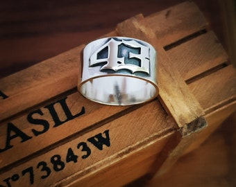 1985,Dad Ring Goth Style Men/'s Ring Number Ring Gift For Him Hand Made Man Ring 1999 Silver Old English 1980 Special Year Ring