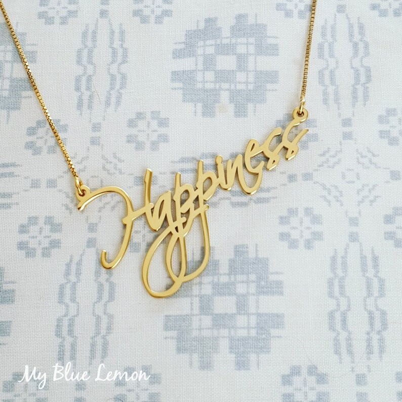 Solid Gold Name Necklace 14K Gold Nameplate Handwriting Style Birthday Gift  Personalized Chain ORDER ANY NAME Mynamenecklace Christmas