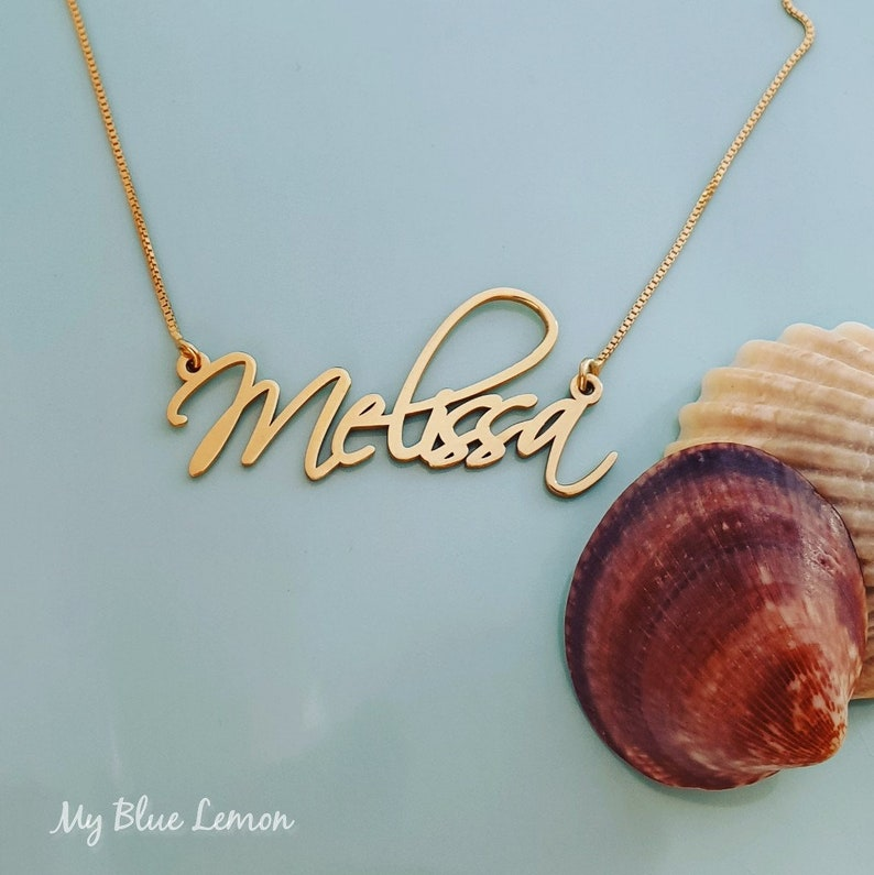 Melissa Name Necklace Hand Made Gold Nameplate 14 Carat Hand Crafted Gift From Israel Personalized Gift For Her