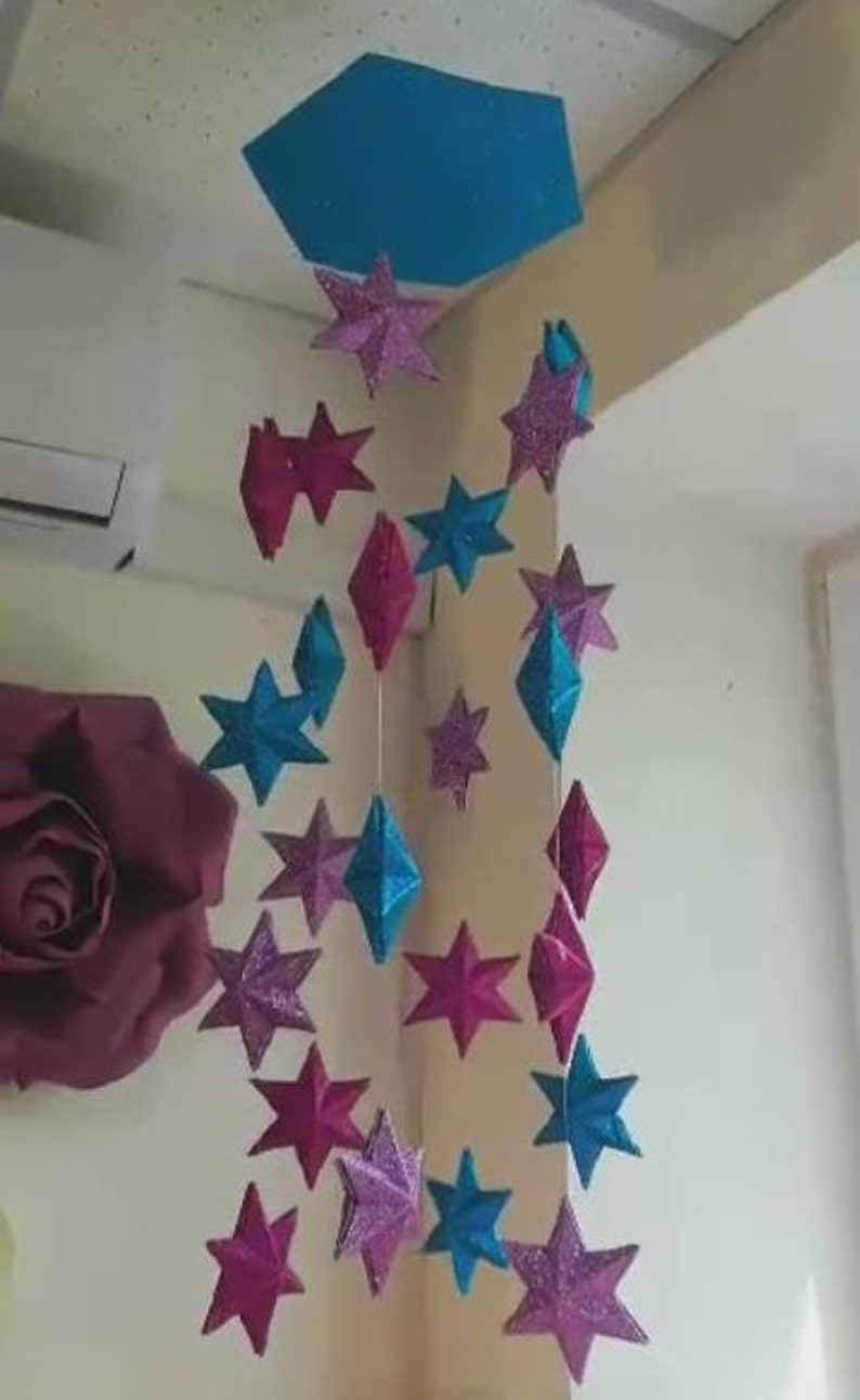 Five and six-pointed star template 3D,Template for glitter foam sheet five  and six-pointed stars 3D, Nursery decor