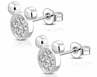 Gemstar Jewellery Brilliant Cut White CZ 925 Silver 14k Yellow Gold Plated Minnie Mouse Bow Earrings