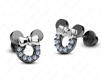 Gemstar Jewellery Disney Minnie Mouse Bow Earrings With Aquamarine 925 Silver 14k Yellow Gold Plated