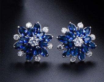 Gemstar Jewellery Round Cut Blue Sapphire 14K Yellow Gold Plated Screwback Fashion Dangle Earrings