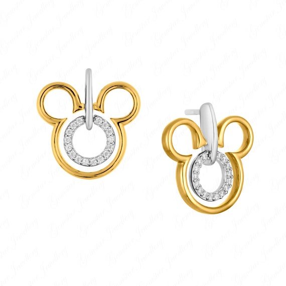 Gemstar Jewellery Brilliant Round Cut Blue Topaz 18K Black Gold Finishing Disney Mickey Mouse Earrings