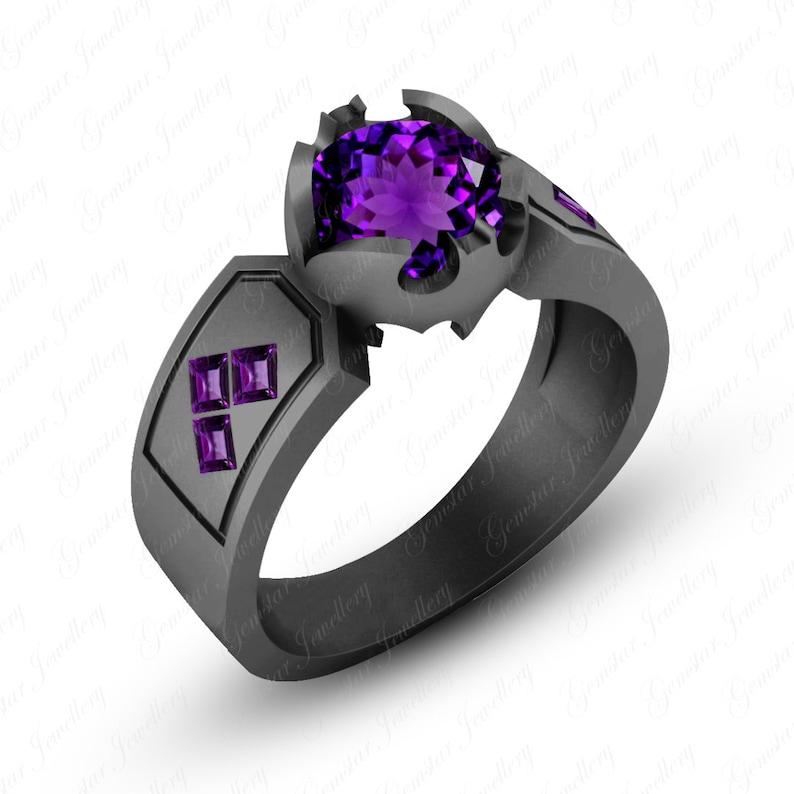 Gemstar Jewellery 18K Black Gold Plated Round /& Princess Cut Amethyst Harley Quinn Engagement Ring