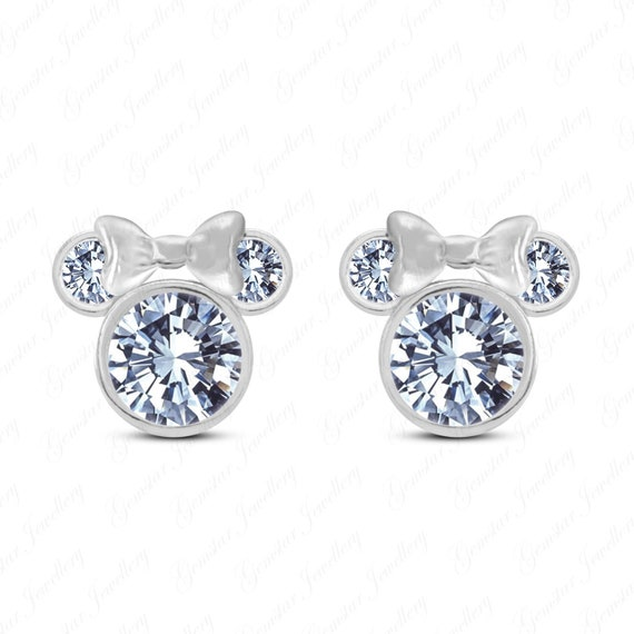 Girls Jewellery Disney Micky Mouse 14K White Gold Plated Simulated Diamond Stud Earrings For Womens