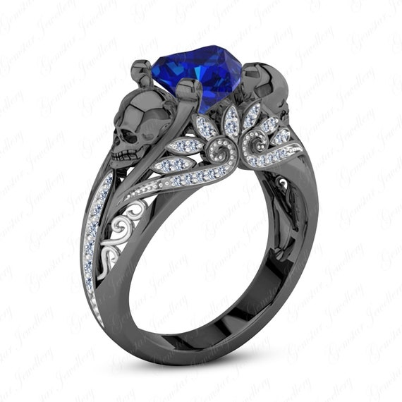 Gemstar Jewellery Engagement Round /& Princess Cut Aquamarine Black Gold Finish Harley Quinn Ring