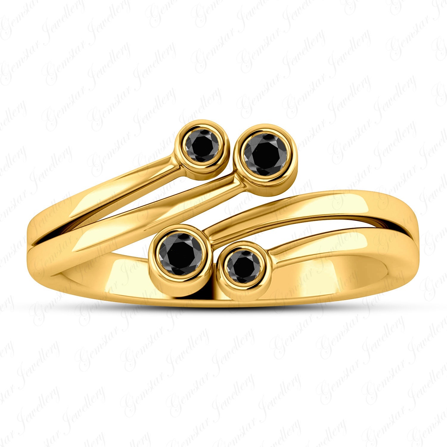 Gemstar Jewellery Round Black Sim Diamond 925 Silver 14k Yellow Gold Finish Bypass Adjustable Toe Ring