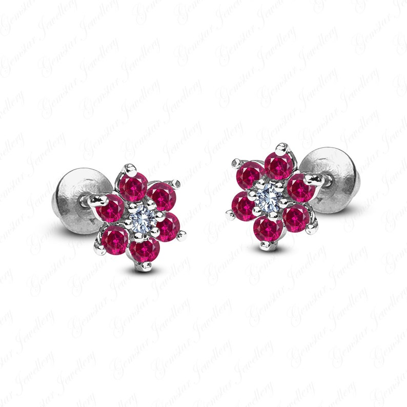 Gemstar Jewellery 18K Yellow Gold Plated Round Cut Red Ruby /& Simulated Diamond Halo Stud Earrings